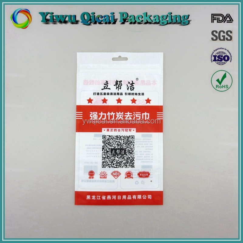 Commodity Goods 3- Side Sealed Plastic Packaging Pag With Zipper