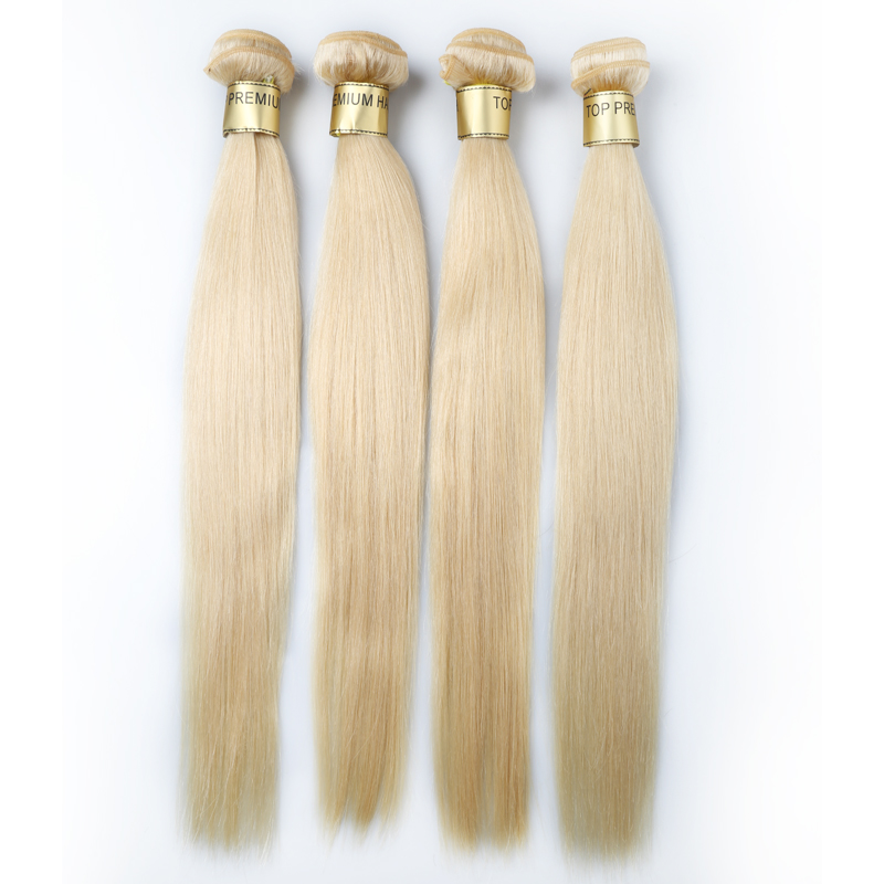 Brazilian Body wave straight hair bundles ombre hair extension color 613 blonde hair