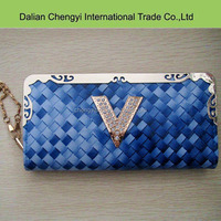 Fashionable woven print ladies pu leather long ladies wallet with iron chain