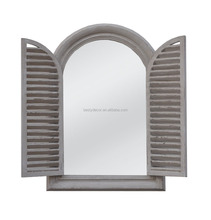 Home decor rural style solid wood arched window wall mirror