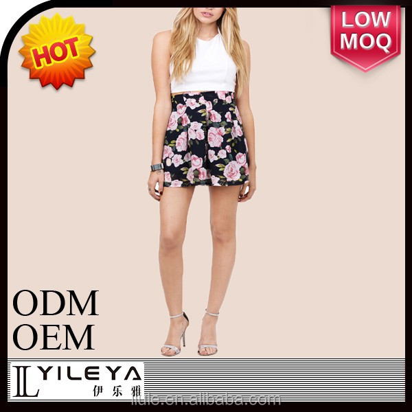 factory price summer floral ladies fashion short skirt