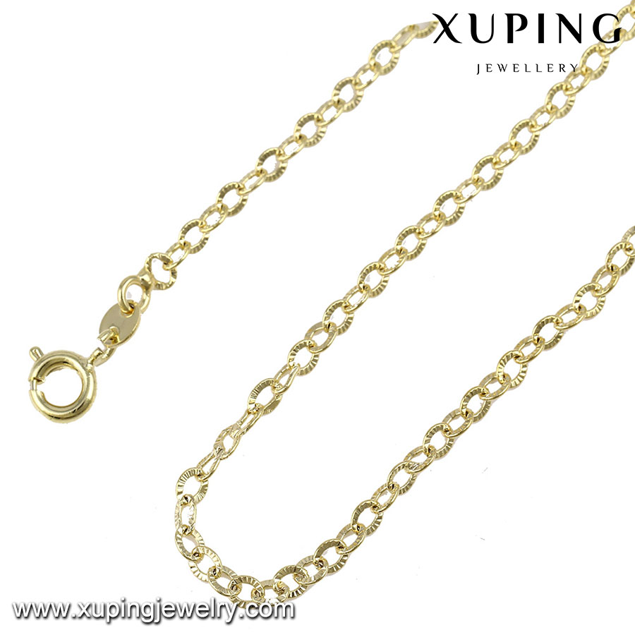 43004 Xuping Women Necklace, 14k gold 3mm chain necklace ,Fashion copper chain necklace jewelry