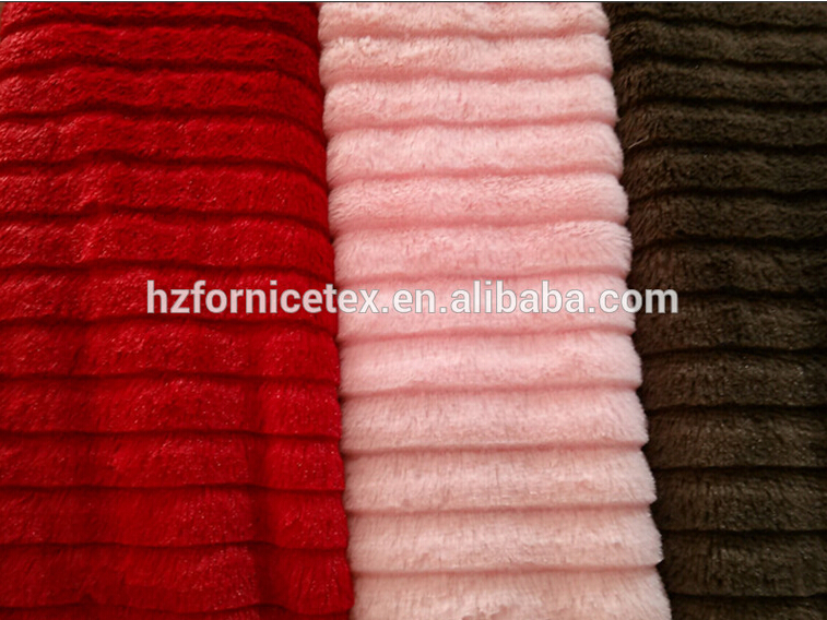 make-to-order PV plush fabric embossed and various designs for slipper/toy/blanket/vest