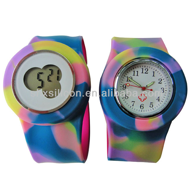SHX silicone slap watch glow in the dark,slap band wrist watches,waterproof slap watch manufacture