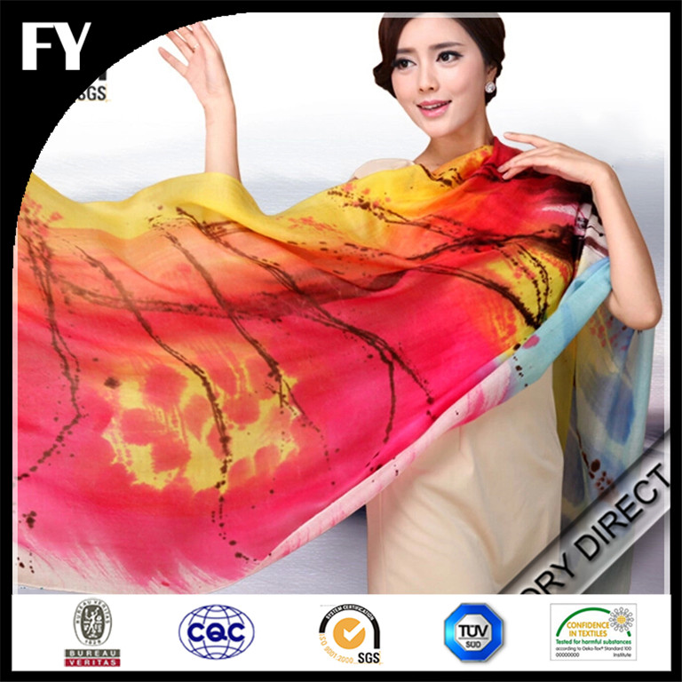 New Style Digital Print Custom Silk Modal Fabric Long Scarves