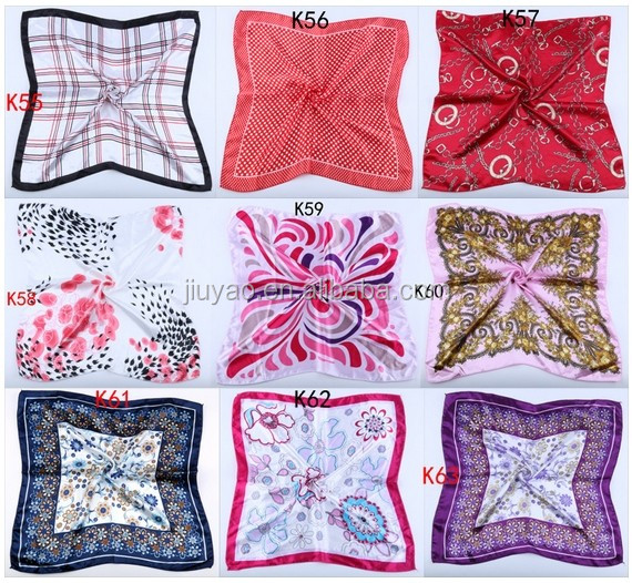 Women satin square scarf wholesale neck shawl factory