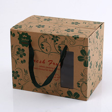 Creative Apple Grape Corrugated Kraft Paper Fruit Packing Box, Strawberry Packaging Box With Window