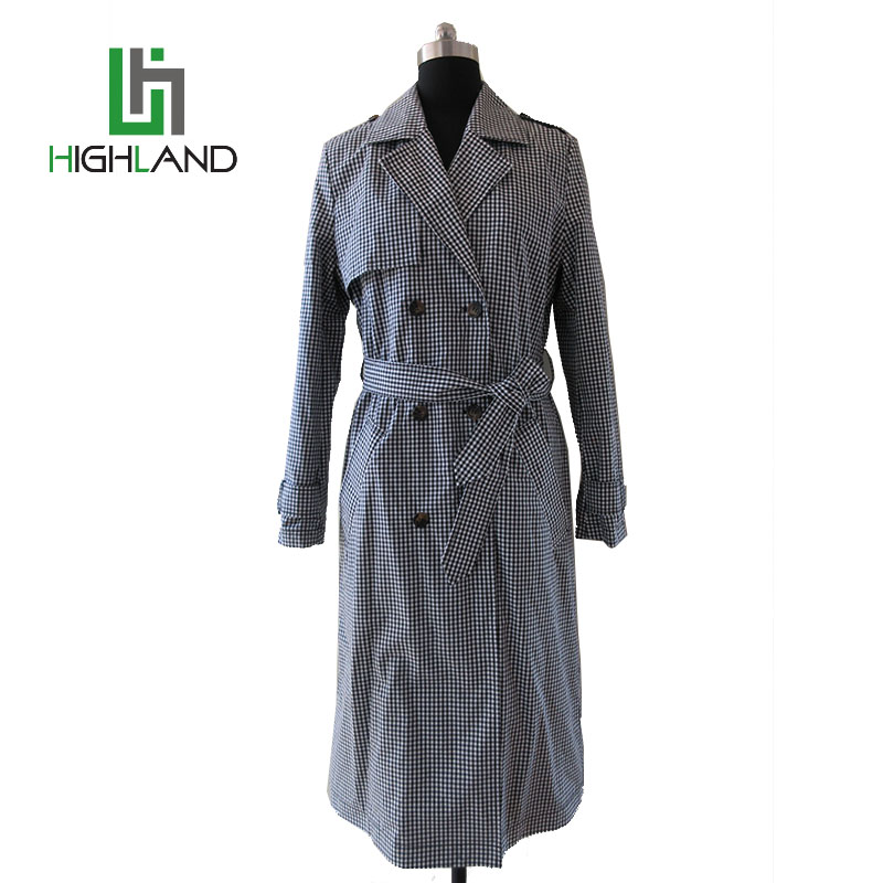 2017 Classic double-breasted trench coat belted wind coats for ladies long casual cotton coat