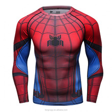 Breathable compression round neck sublimation t shirt custom printed spiderman graphic long sleeve jerseys for man