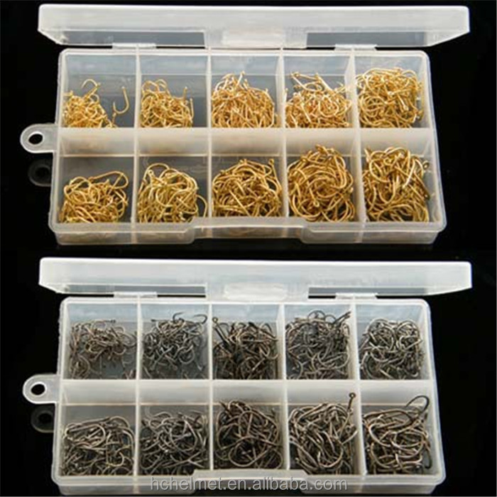 Top Quality 500Pcs/set #3~#12 Bronze Golden Carp Fishing Hooks Carbon Steel Wholesale Fishing Hooks