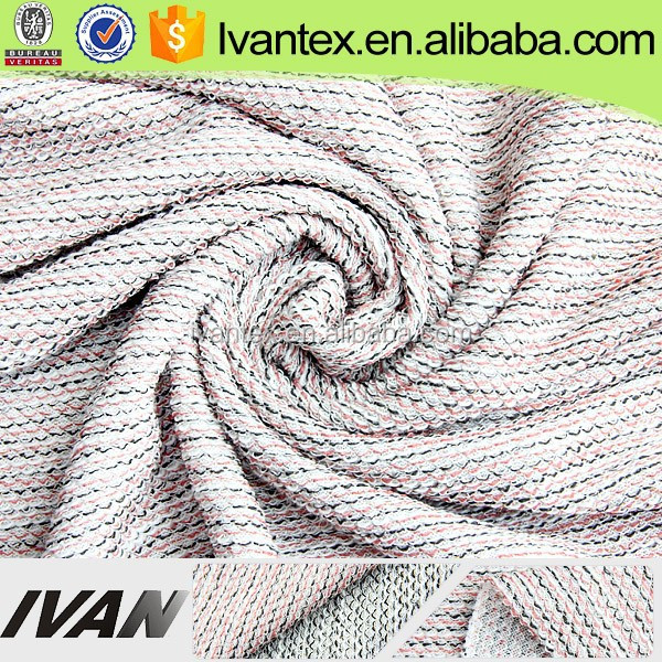 Ivan Textile Weft Knitting Polyester Lurex Hacci Loose Knit Fabric For Sweater