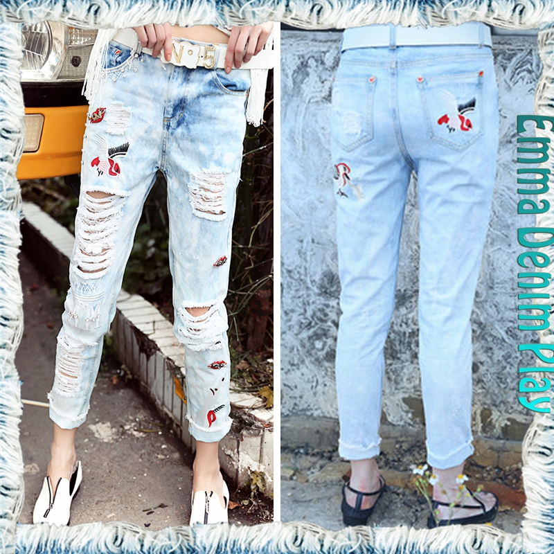 2016 Stylish Women Rivets Decorated Embroidered Destroyed Holes Denim Jeans Manufacturer