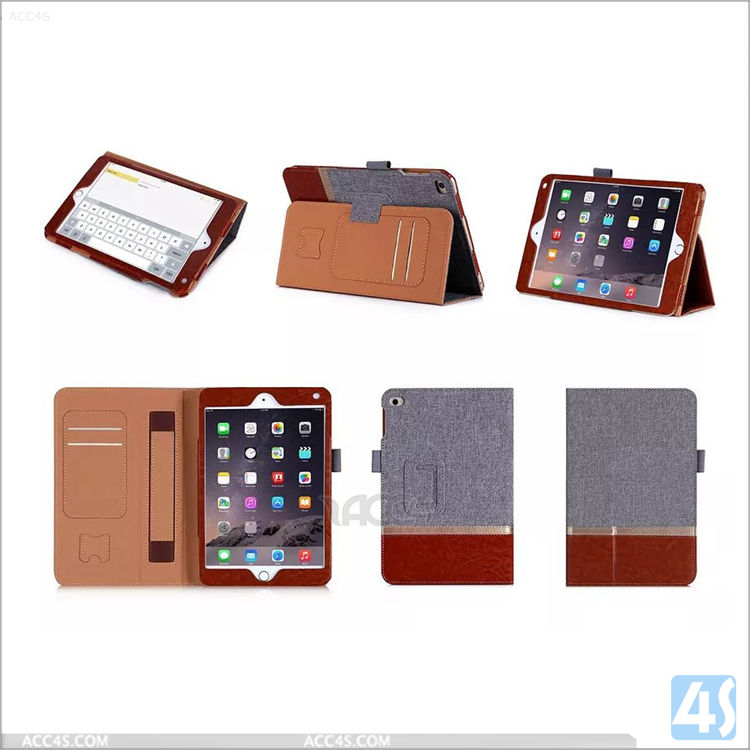 Hit color leather wallet case cover for ipad mini 4 with handhold