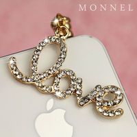 IP11 3.5mm Crsytal Gold Tone LOVE Anti Dust Plug cell phone charm For iPhone android mobile Phone