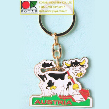 Custom zinc alloy recessed new enamel keychain with gold plating