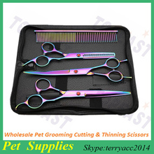 Wholesale 7.0 Inch Pet Grooming Cutting&Thinning Scissors Color Dog Shears 5pcs/set