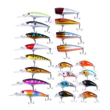 20Pcs/Pack Fishing Lures Kit Mixed including Minnow Popper Crank Baits For Saltwater Freshwater Trout Bass Salmon Fishing