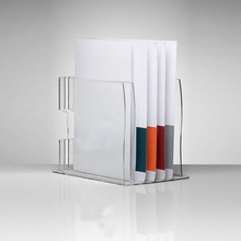 6 Slots Desktop Clear Acrylic File Brochure Display Stand