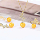 gemstone jewelry manufacturer wholesale new design trendy 925 sterling silver natural yellow amber Jewelry Set women
