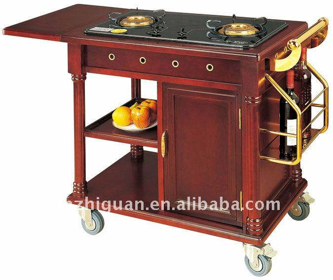 Wooden Restaurant Cooking Flame Trolley(C-195)