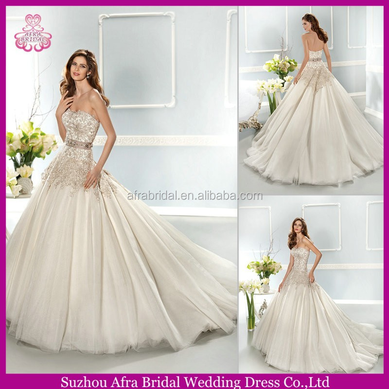 QQ1619 sexy lace wedding gowns big tulle skirt wedding dress sweetheart neckline