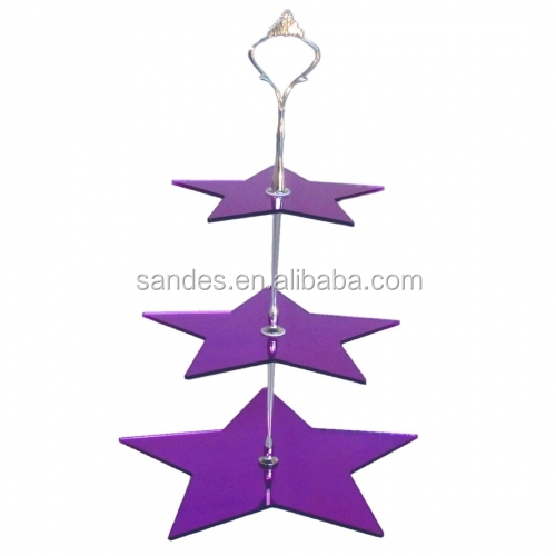 Outstanding Purple Star Design Hanging Tiered Plastic Cake Stand