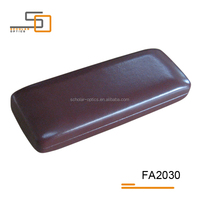 Hot sell Burgundy PVC leather iron glasses case/optical case