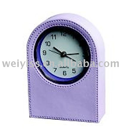 unique desk clock charming purple clock leather gear table clocks for promotion gifts2013