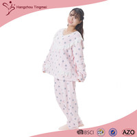 100% Polyester Fabric Coral Fleece Pajama For Women Dressing Gown