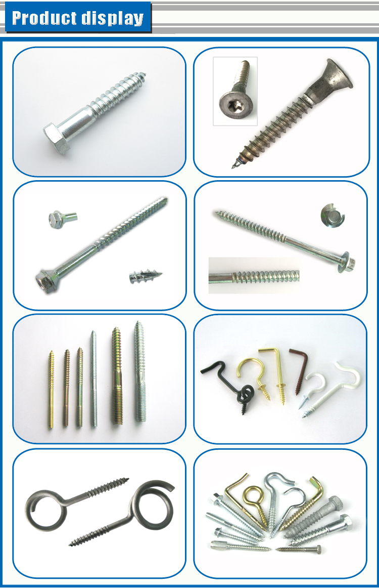 Decorative zinc plated din 571 hex washer head wood screw