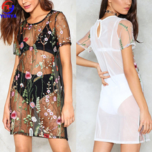 New product fashion sexy transparent floral embroidered mesh girls' dress