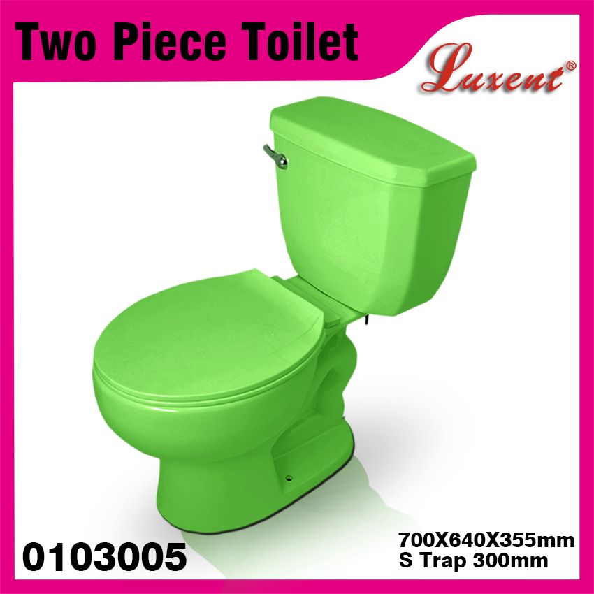 Hot sale WC single flush siphonic low price two piece colour toilet for bathroom for latin america