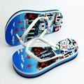 white PVC strap material high elastic eva magic blue color castle printing insole sandals flip flop