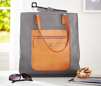 Top quality canvas grain genuine leather tote bags