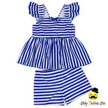Kids New Models Design Blue And White Striped Flutter Sleeve Little Girl Separable Swimsuit Top Match Shorts Set Clothes