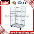 collapsible wire mesh roll trolley cart foldable 3-side