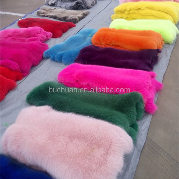 dyed fox fur pelts