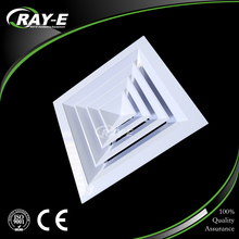 4 way directional supply duct ceiling aluminum square air diffuser with air damper