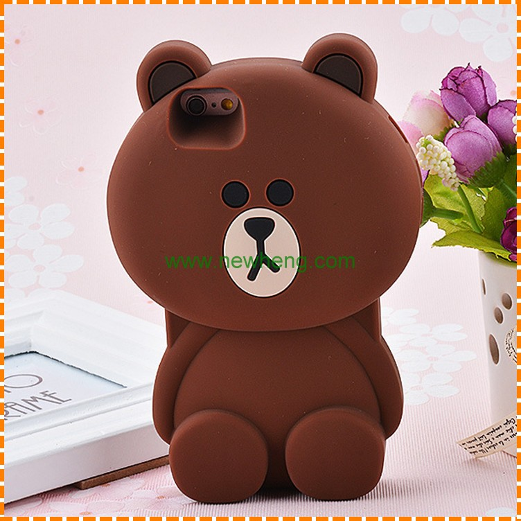 Brown bear 3D cartoon silicone mobile phone cases for iphone 6 6plus silicon covers
