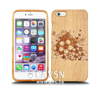Hot Selling Flower Pattern Engraved Real Wood Cell Case Phone Cover two parts for IPhone 6/6s/6 plus