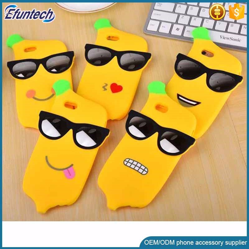 Factory supply promotion cool banana style 3D silicone phone case for iphone 6s plus