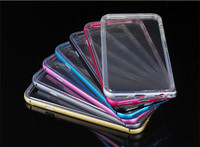 New 2 in 1 Soft Clear Gel Crystal TPU Back Cover Colorful Metal Aluminum Frame Protective Cell phone Case For iPhone 6 6Plus
