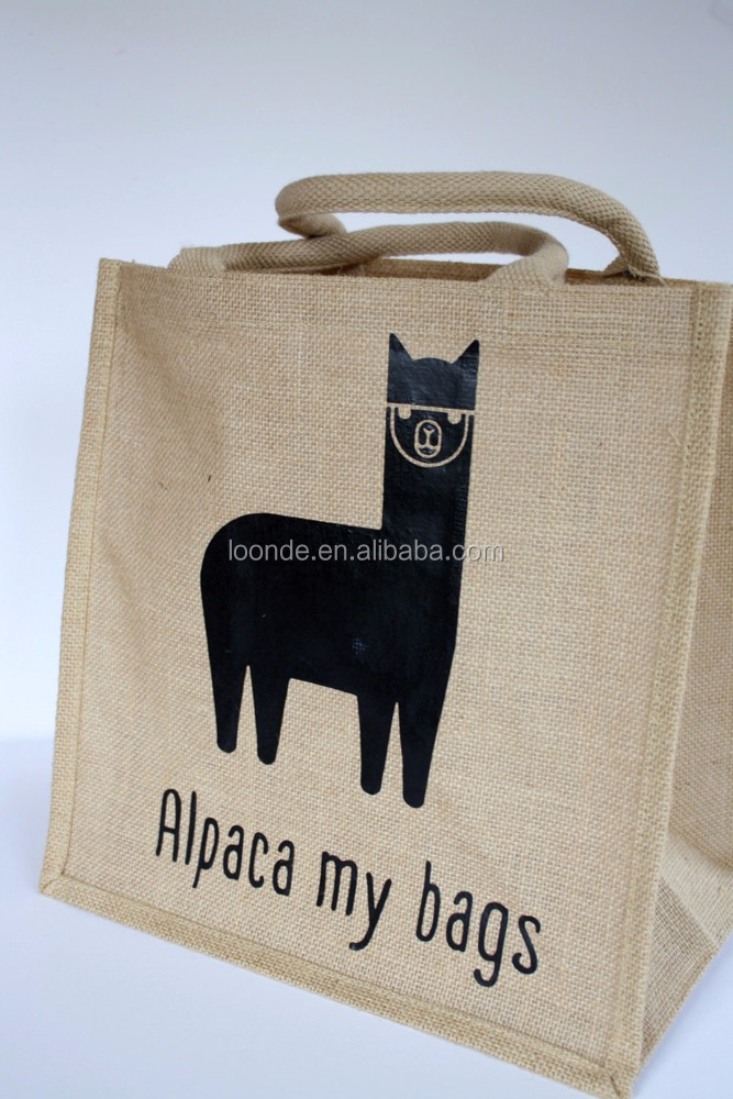 Custom made jute lunch carrier bags with adorable alpaca print