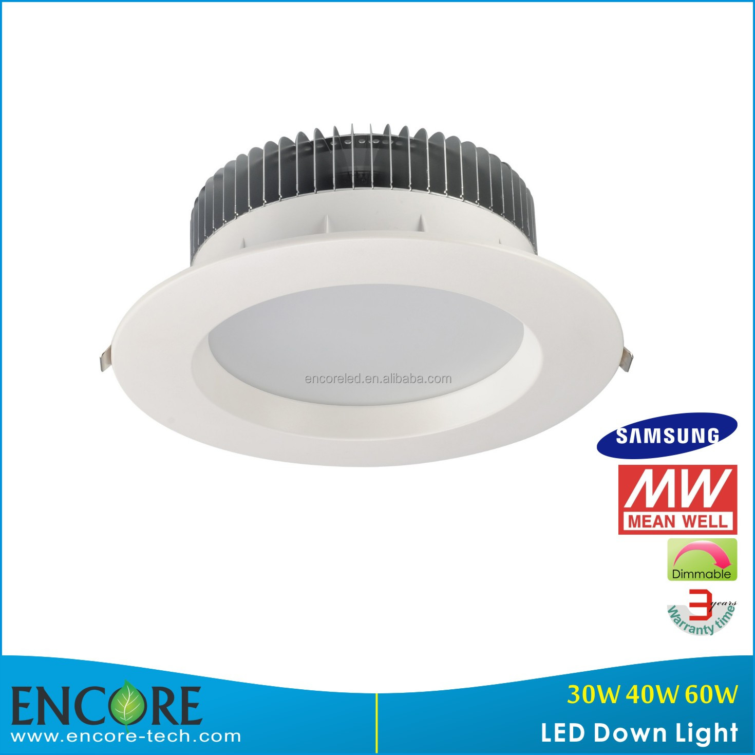 "Encore 30W COB High Power LED Downlight/ 8"" COB Round LED Spot Down Light with Traic, DALI, 0-10V dimmable Function"