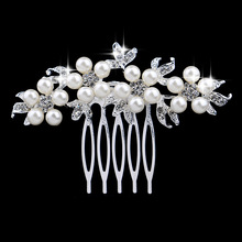 Wholesale Flower made with pearls small barrettes bridal hair accessory women Wedding head comb on wedding