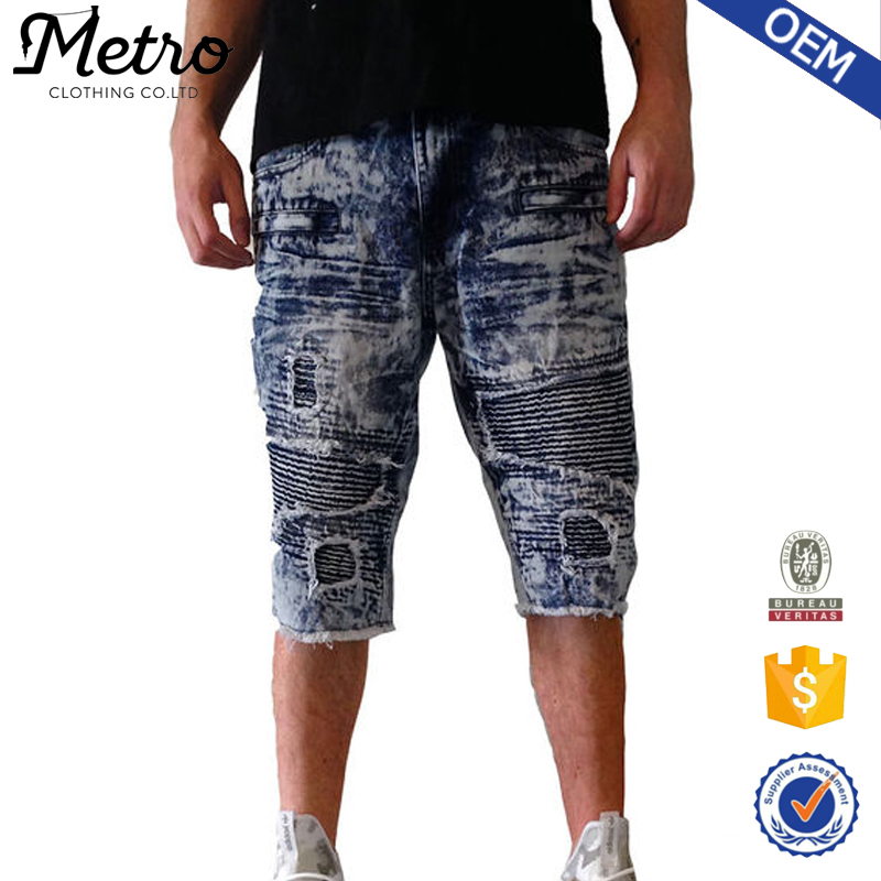 2016 Wholesale Mens Dark Blue Acid Wash Biker Denim Shorts
