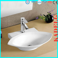One Faucet Bathroom Leaf Shape Ceramic Vessel Sink