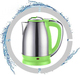 2018 NEW 1.8L Electric Kettle household appliance, #201 Stainless Steel with plating handle & green color plastic parts