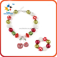 Custom children jewlelry popular chunky beads plastic kids necklace for chiristmas
