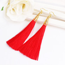 New Arrival Bohemian Golden Edge Silk Tassel Bride Dangler Earrings